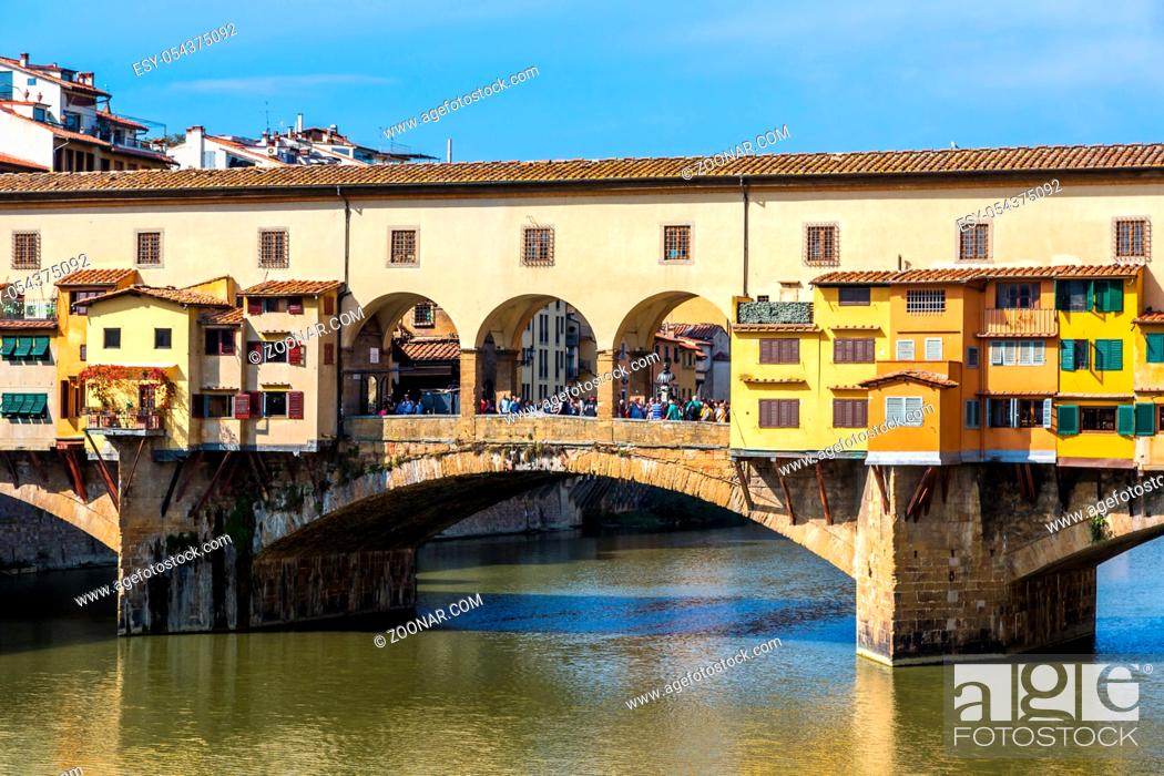 Stock Photo: The Ponte Vecchio in Florence in a summer day in Italy.