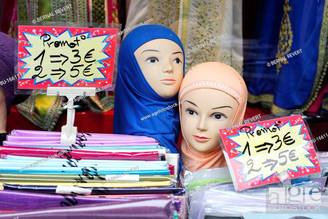 Stock Photo: Dummies with veils in a shop in Brussels, Belgium.