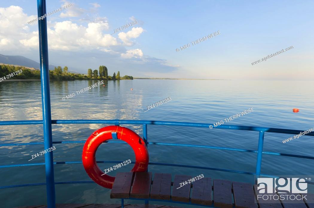 Stock Photo: Karven resort beach, Issyk Kul lake, Kyrgyzstan, Central Asia.