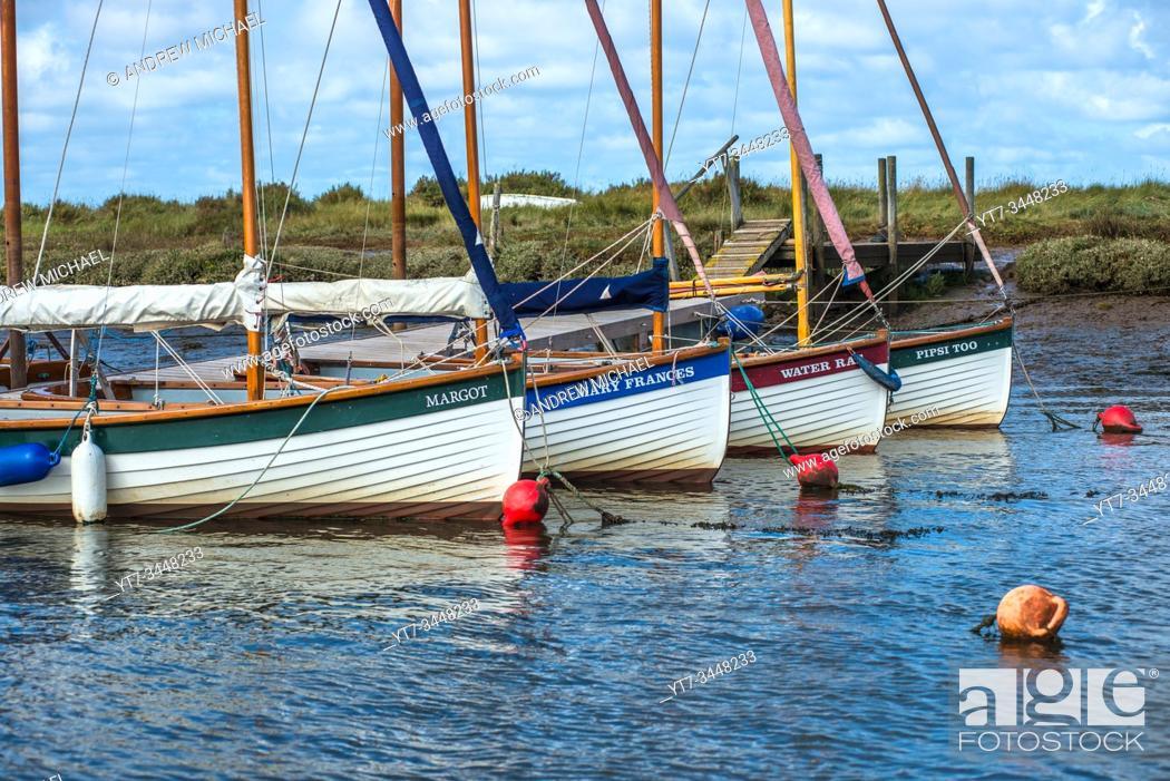 Stock Photo: Boats at Morston Quay on North Norfolk coast in East Anglia, England, UK.
