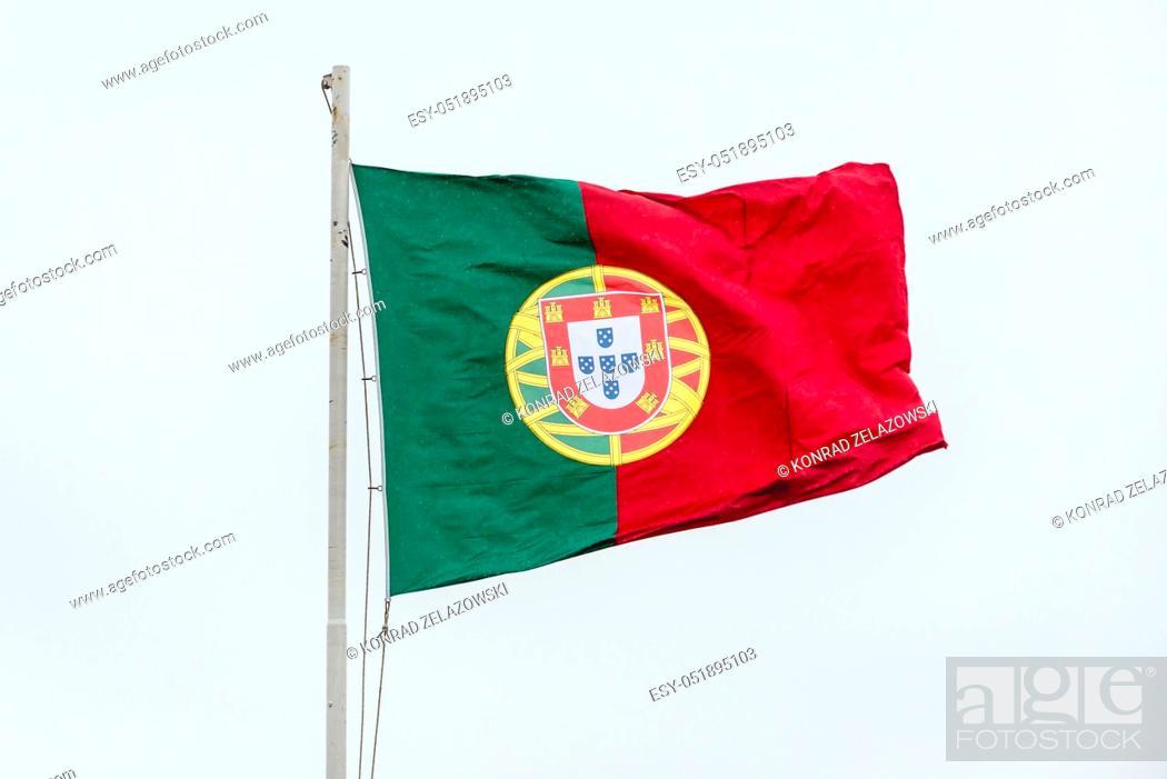Stock Photo: Flag in Castelo de Sao Jorge citadel in Lisbon, Portugal.