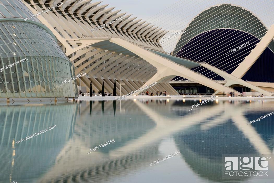 Stock Photo: The City of Arts and Science designed by Santiago Calatrava, Valencia, Spain.