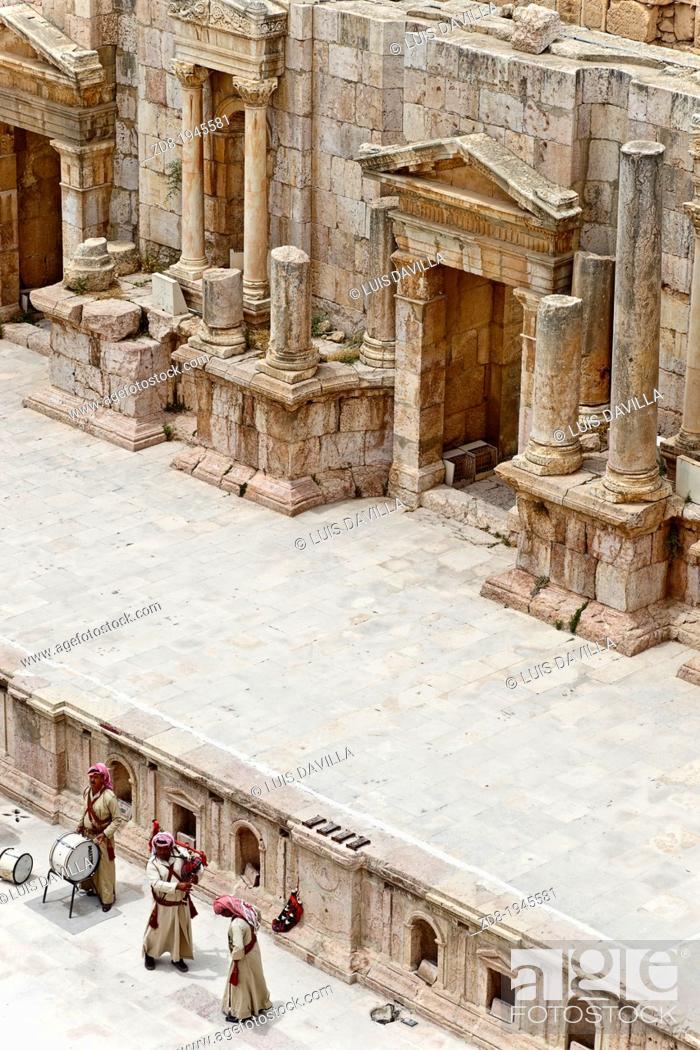 Stock Photo: theatre in jerash ruins. jordan.