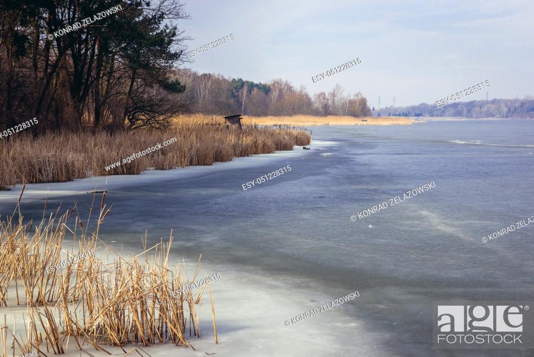 Stock Photo: Frozen Narew River, right tributary of the Vistula river in Wieliszew town Masovian Voivodeship of Poland.