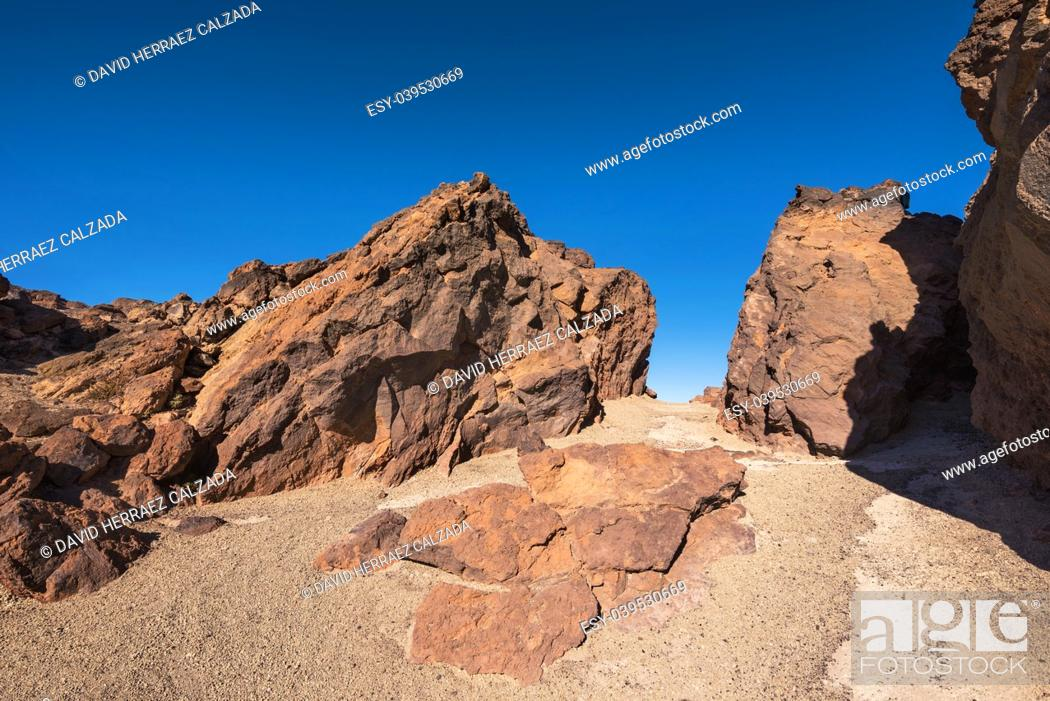 Stock Photo: Rocky landscape in Teide national park. This natural scenary was used for the fim clash of Titans, Tenerife, Canary islands, Spain.