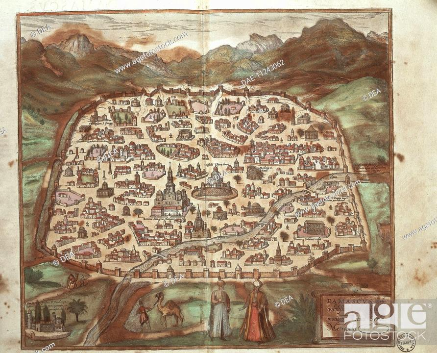 Cartography, Syria, 16th century  The city of Damascus  From
