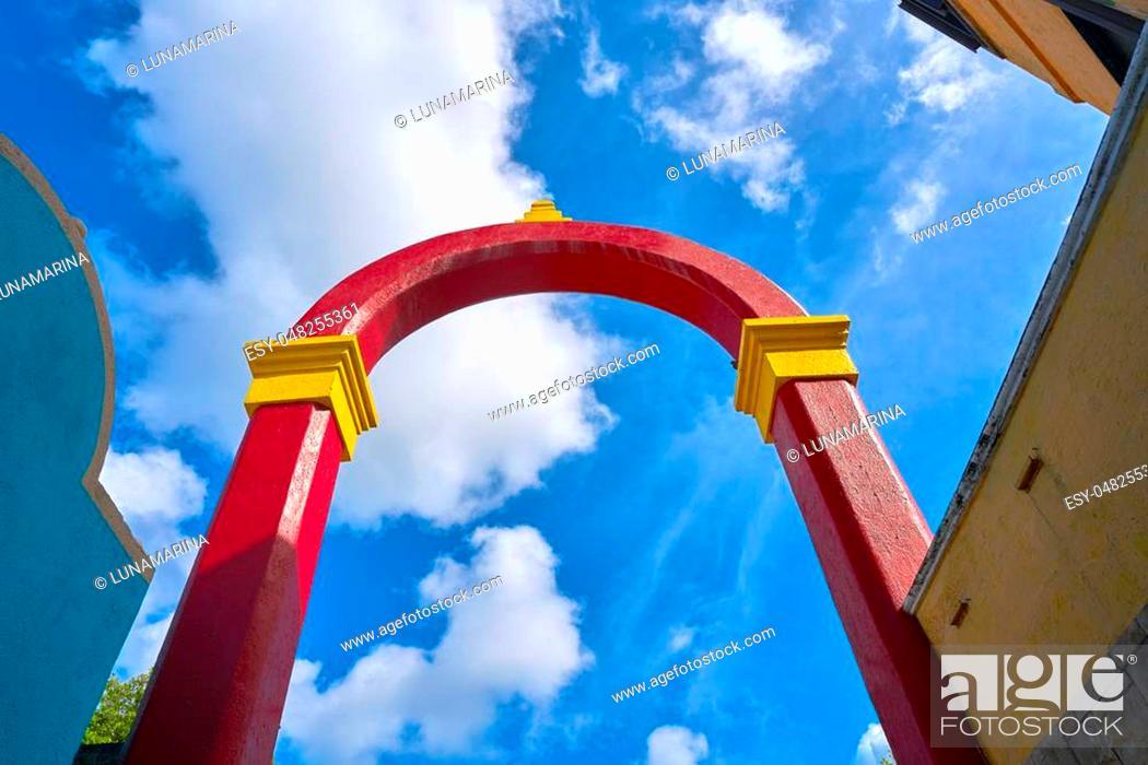 Stock Photo: Cozumel island arch Plaza Punta Langosta in Mexico Mayan riviera.
