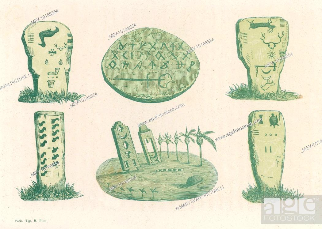 Stock Photo: Native American (probably Comanche) inscriptions on stones and other items.
