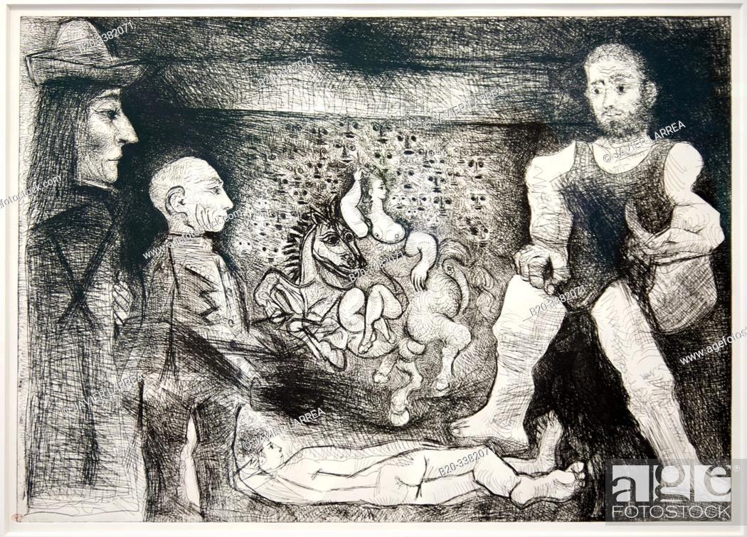 """Stock Photo: """"Picasso, son oeuvre et son public"""", 1968, Pablo Picasso, Picasso Museum, Paris, France, Europe."""