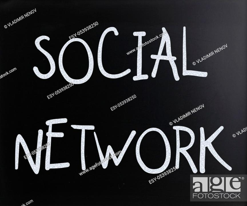 "Stock Photo: """"""""""Social network"""" handwritten with white chalk on a blackboard."