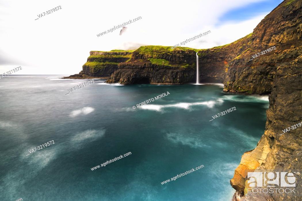 Stock Photo: Waterfall of Gasadalur, Vagar island, Faroe Islands, Denmark.