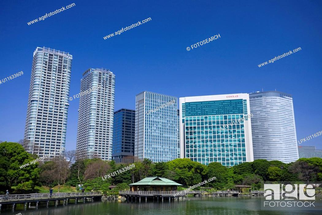 Stock Photo: Shiodome high-rise buildings.
