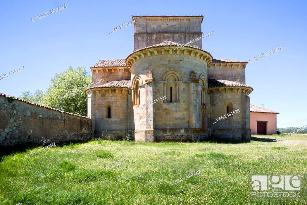 Stock Photo: Romanesque church of Santa Eufemia de Cozollos, Olmos de Ojeda, Palencia, Spain.