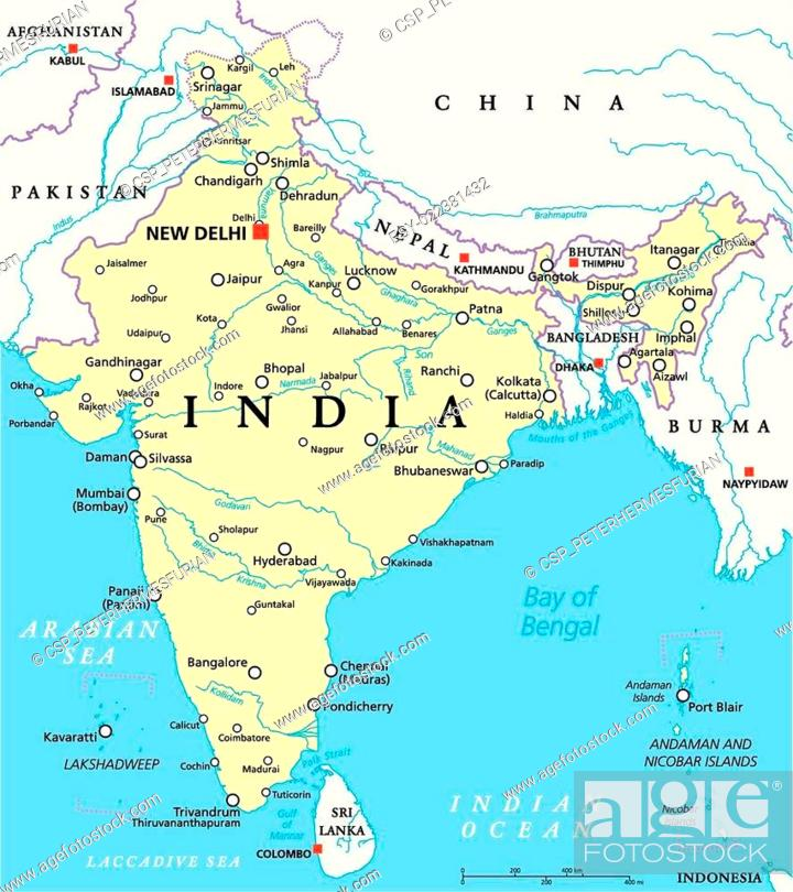 India Political Map, Stock Photo, Picture And Low Budget ...