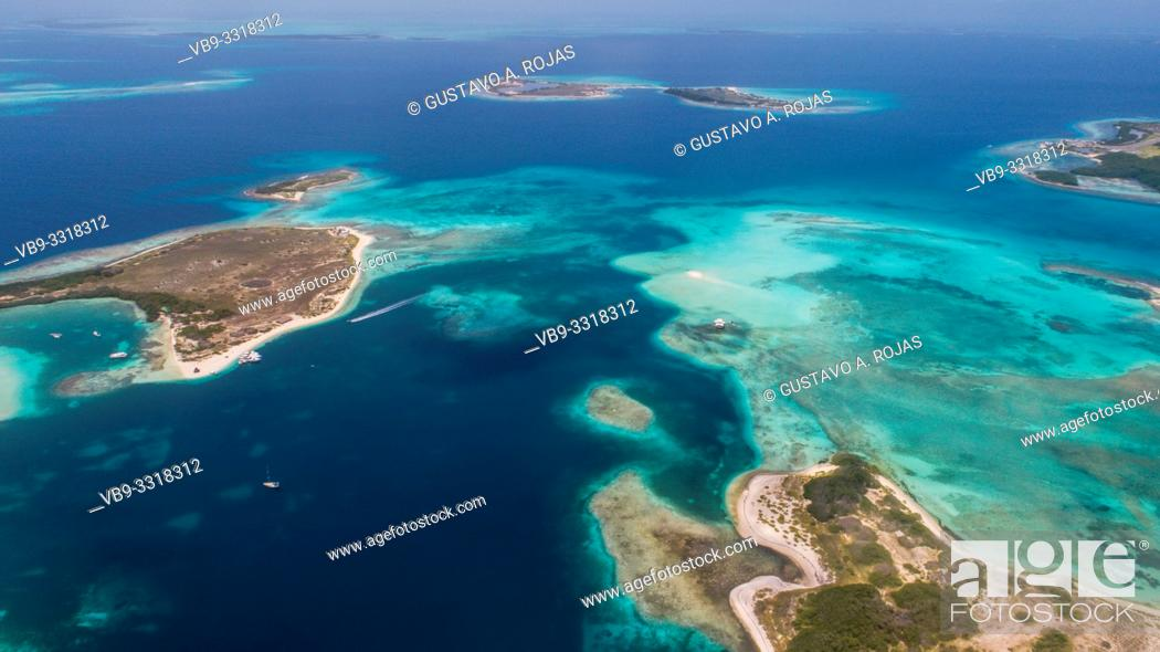 Stock Photo: aerial view francisky los roques venezuela.