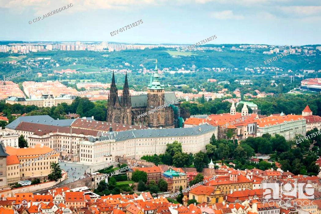 Stock Photo: Rooftop view of the Prague Castle.