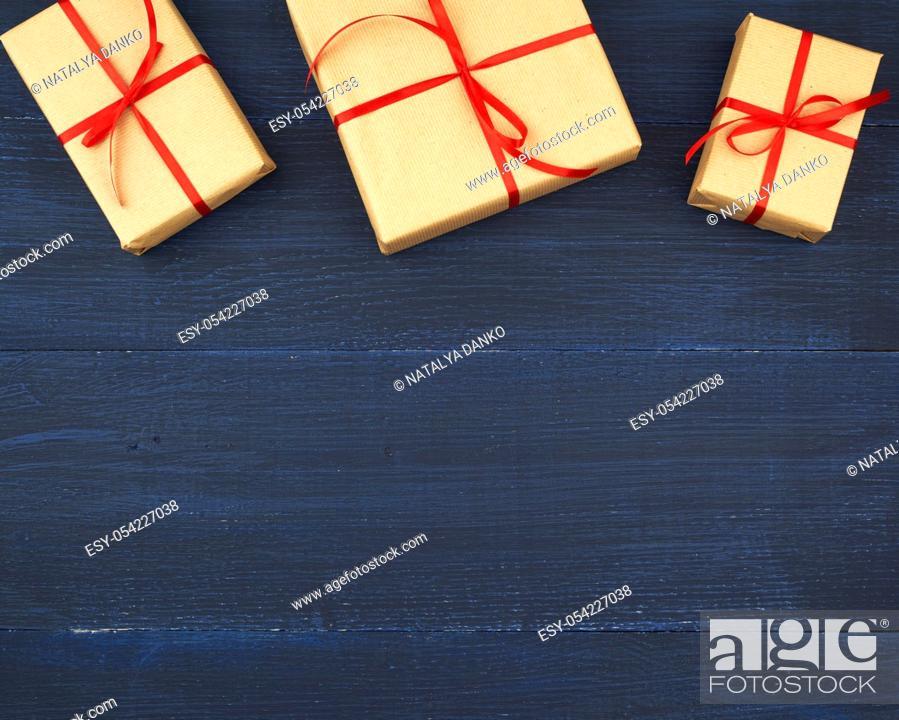 Stock Photo: Anniversary , Backdrop , Background , Birthday , Blue , Bow , Box , Brown , Celebrate , Christmas , Craft , Decor , Decoration , Decorative , Eco , Empty.