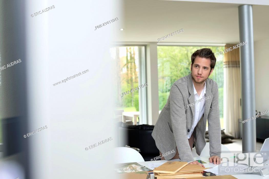 Stock Photo: Interior designer working in the office.