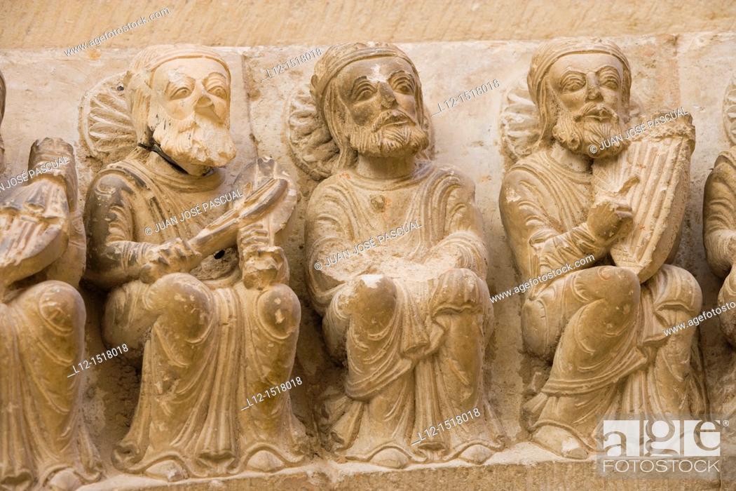 Stock Photo: Church, esculpture decoration detail, Ahedo de Butrón, Burgos province, Castilla-León, castille-Leon, Spain.