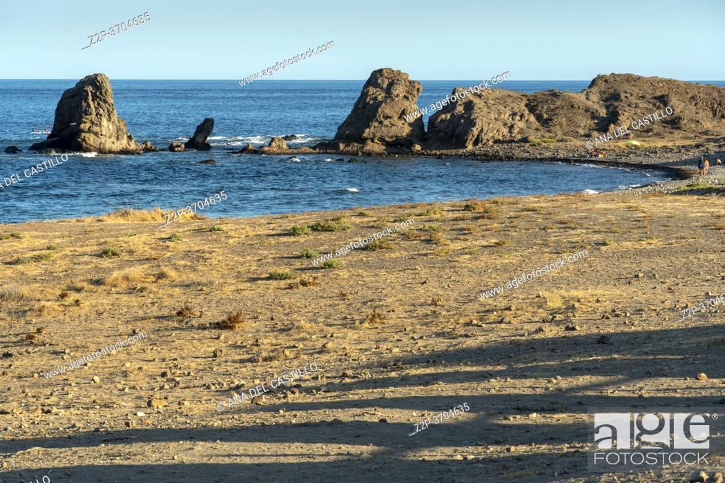 Stock Photo: Embarcadero beach Los Escullos Cabo de Gata nature reserve in Almeria Andalusia Spain.