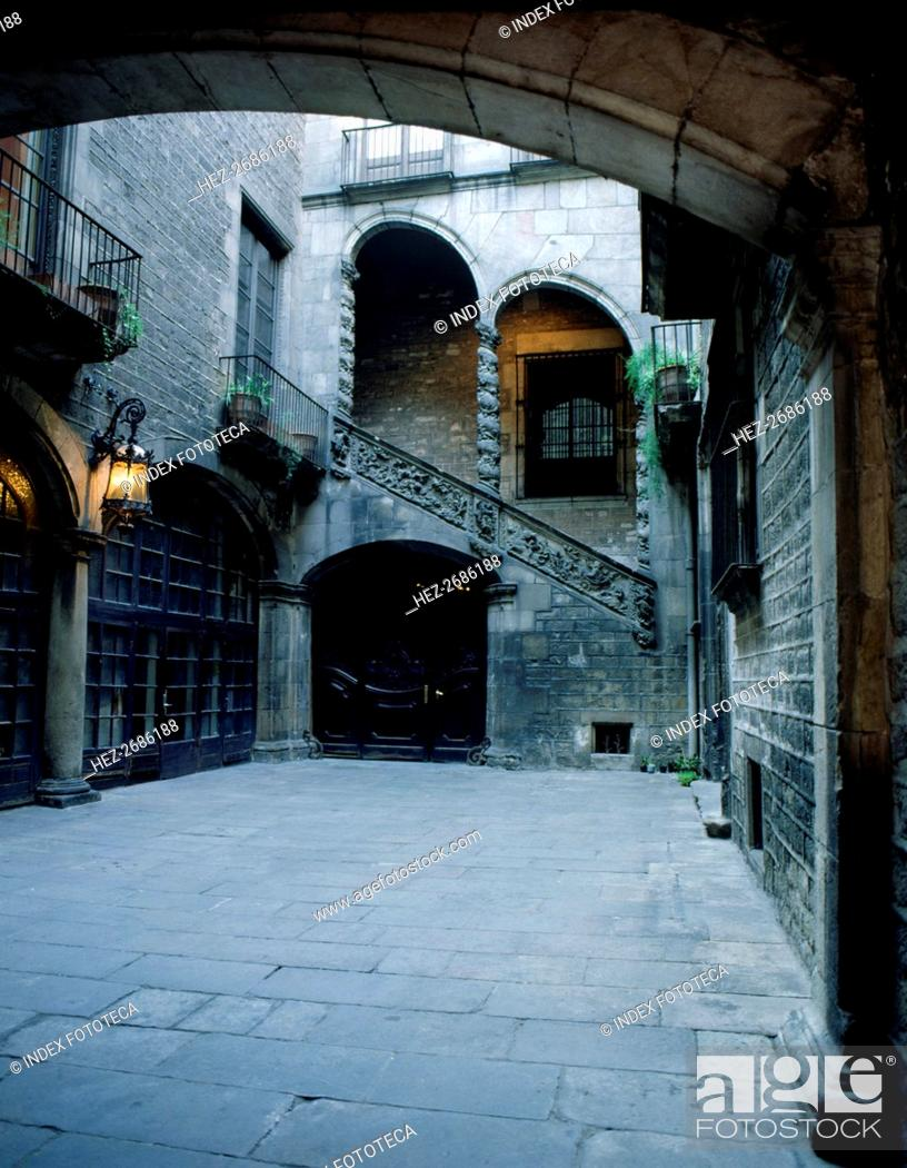 Stock Photo: Dalmases Palace, central office of Omnium Cultural and Institut of Catalan Studies, detail of the?.