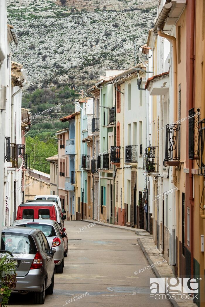 Stock Photo: Street and typical houses, La Vall D'Ebo, Marina Alta, Alicante province, Spain.