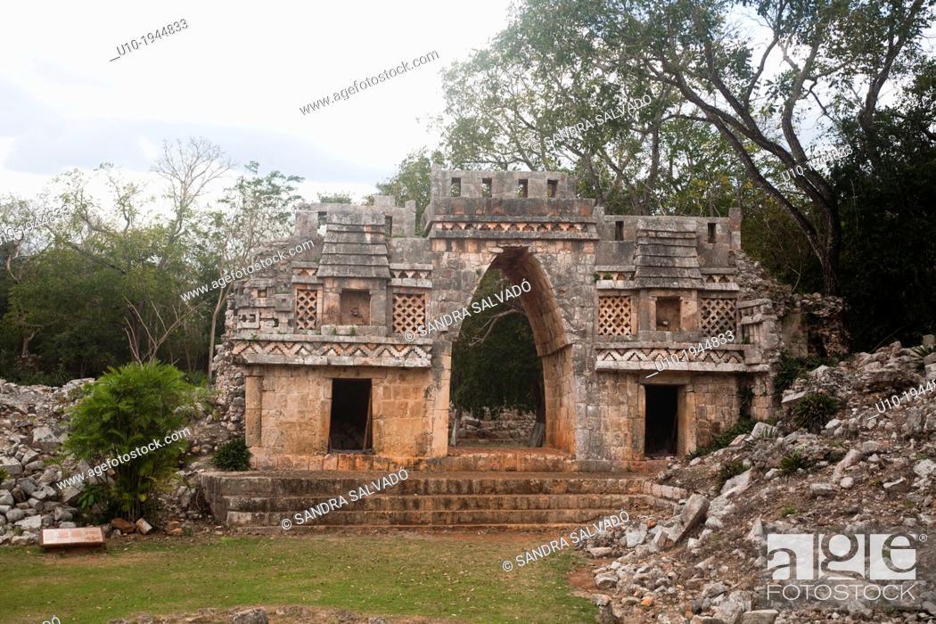Stock Photo: Mayan arqueological site Labná, Peninsula Yucatan, Mexico.