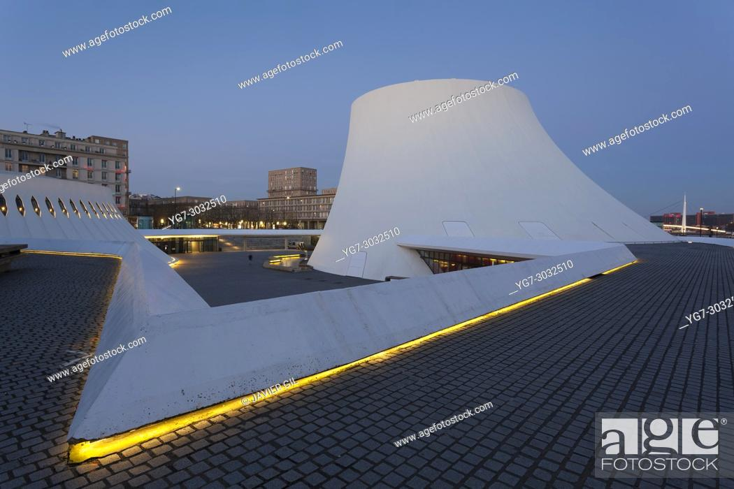 Stock Photo: Cultural Center by Oscar Niemeyer, Le Havre, Seine-Maritime department, France.