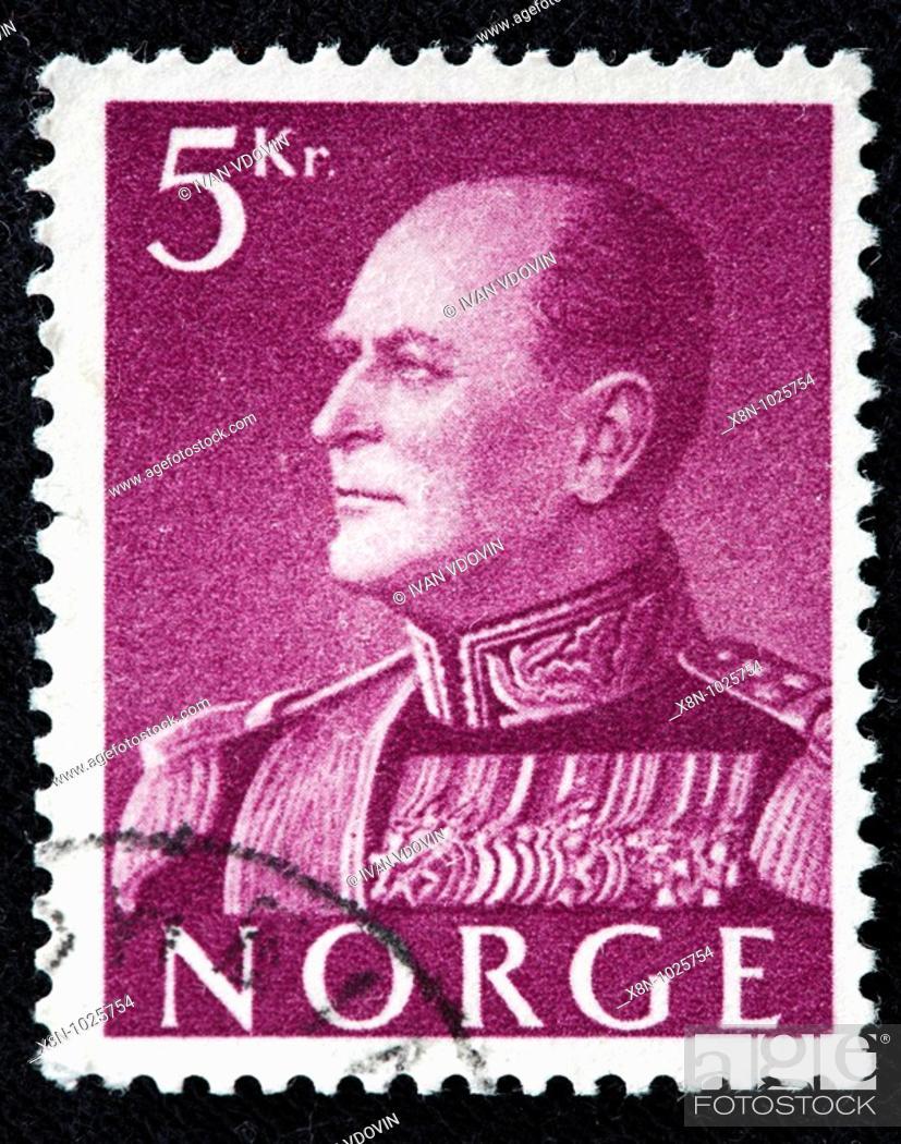 Olav V King Of Norway 1957 1991 Postage Stamp Stock Photo