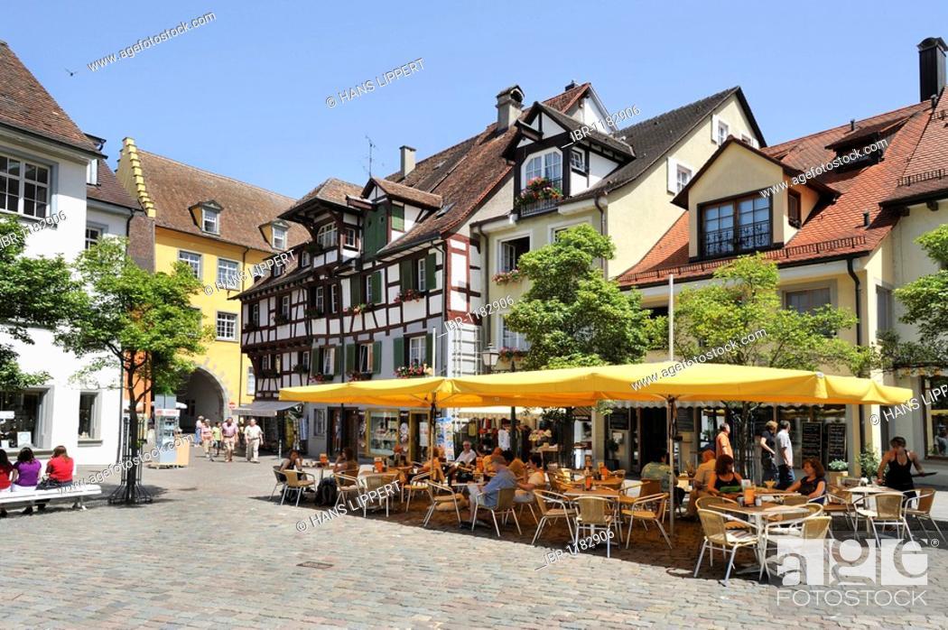 Stock Photo: Schlossplatz castle square in Meersburg on Lake Constance, Baden-Wuerttemberg, Germany, Europe.