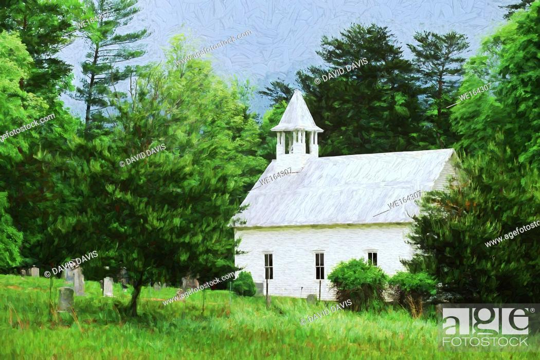 Stock Photo: Impressionist art of the Methodist Church in Cades Cove, Great Smoky Mountains National Park, Tennessee USA.