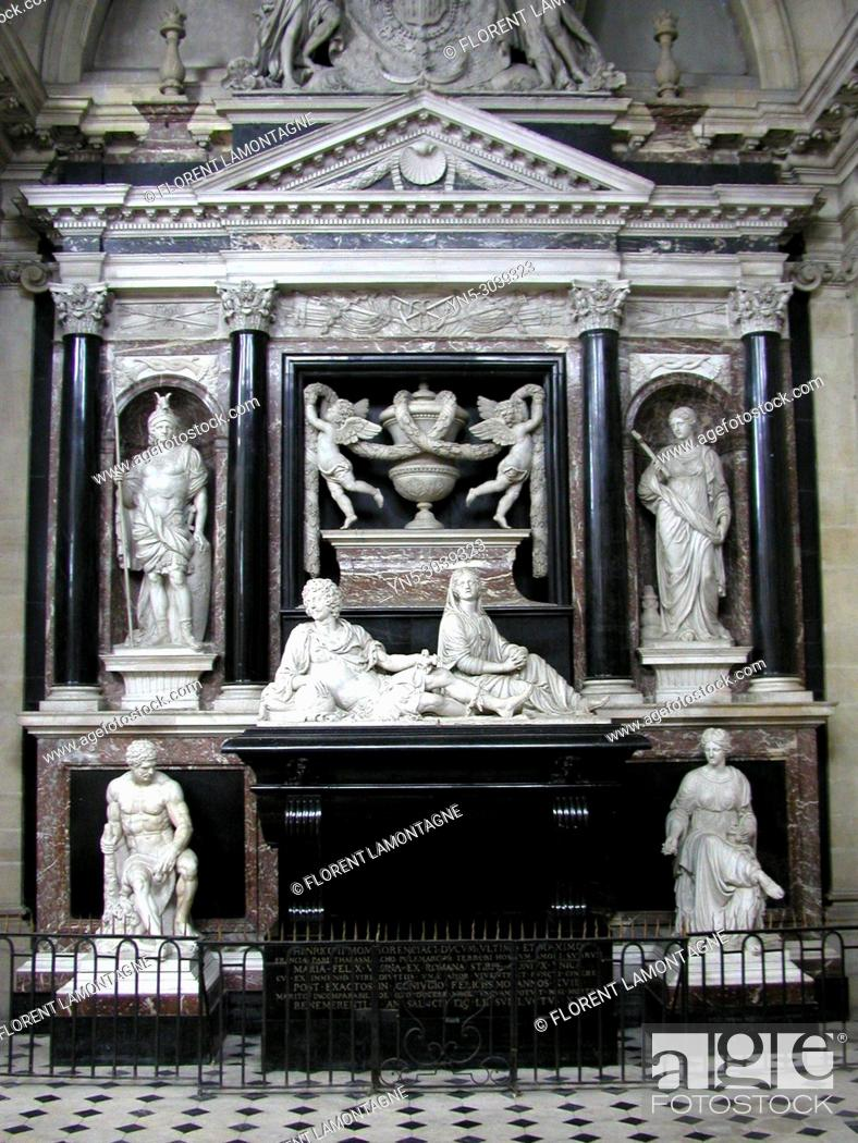 Stock Photo: Mausoleum of Duke henri II de Montmorency in the chapel of Visitation in Moulins (Allier department and Auvergne region).