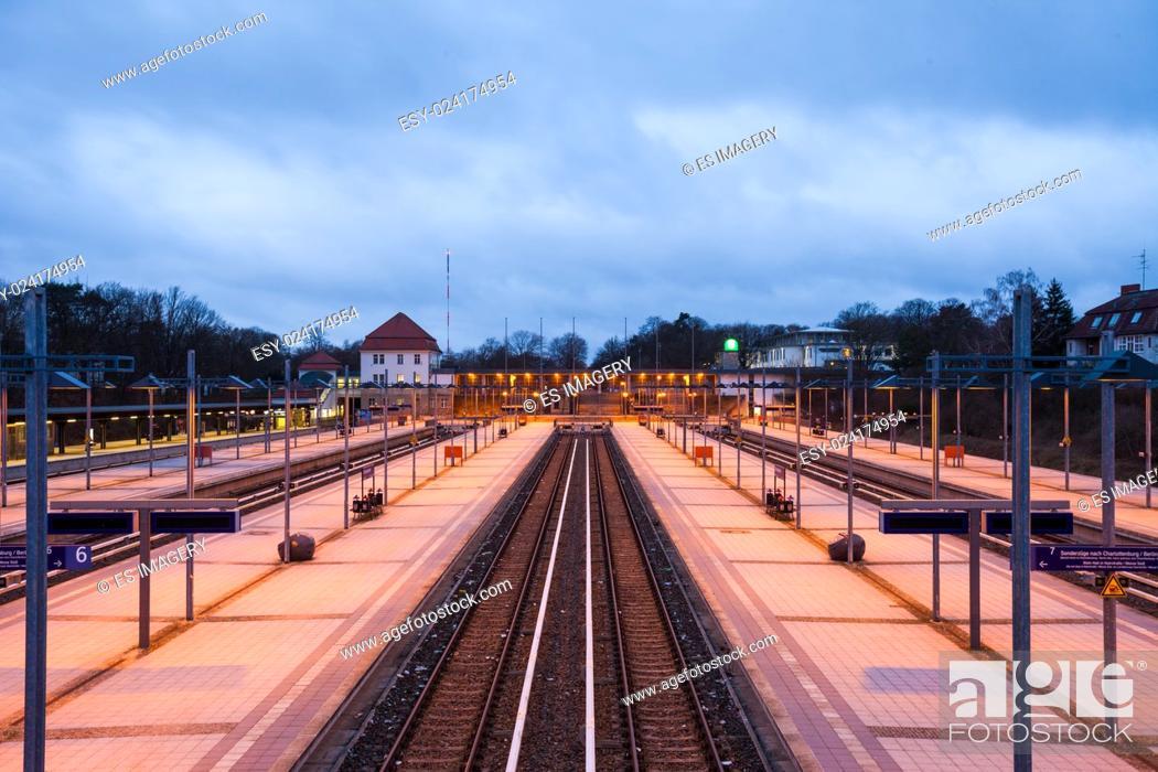Stock Photo: Railway platforms at the Berlin Olympiastadion (Olympic Stadium) Station.