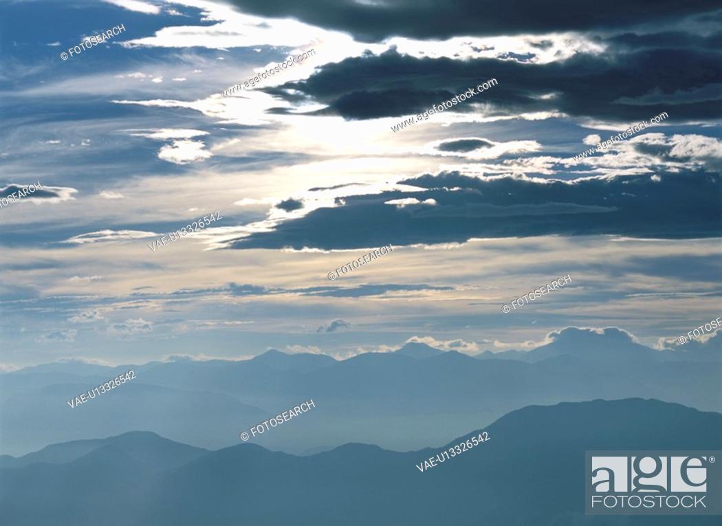 Stock Photo: A Solar Light And A Solar Mountain Range.