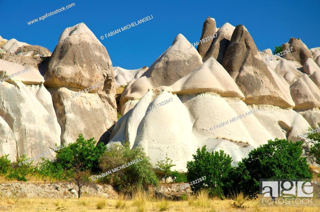 Stock Photo: Fairy chimneys in Love Valley, in Cappadocia, Central Anatolia, Turkey.