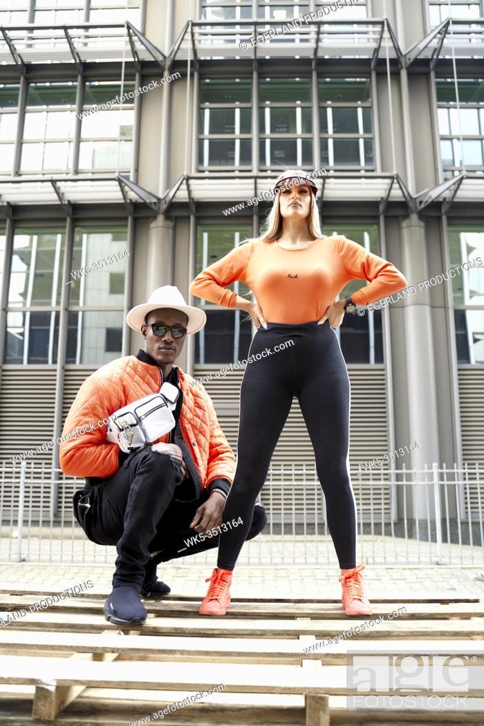 Photo de stock: couple wearing futuristic fashion style.
