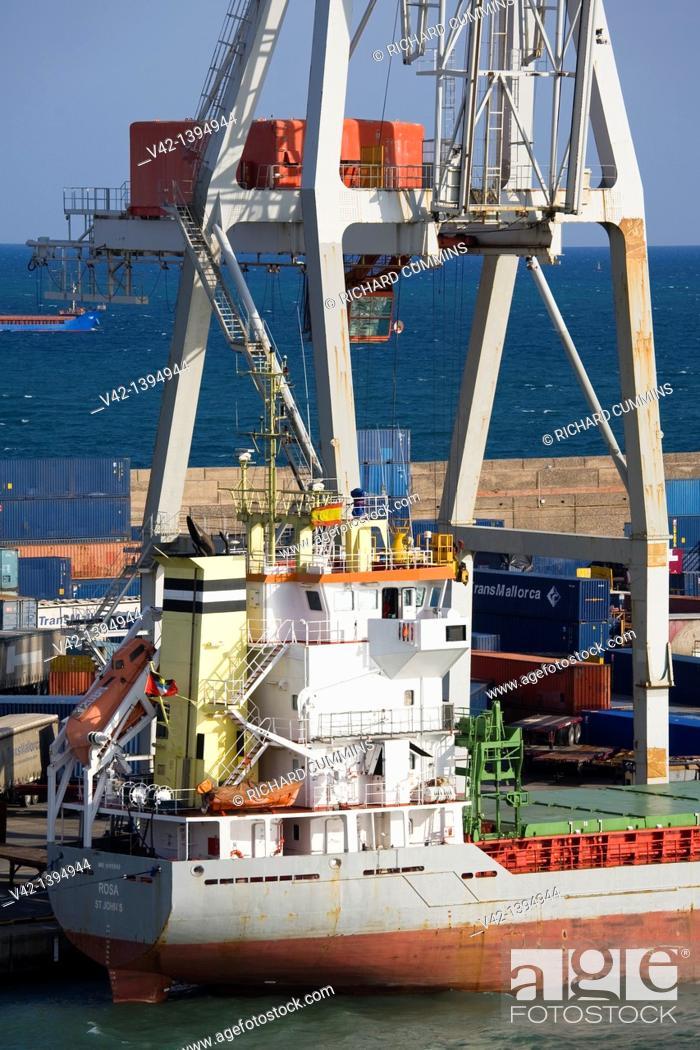 Stock Photo: Ship docked in Barcelona Port, Catalonia, Spain, Europe.