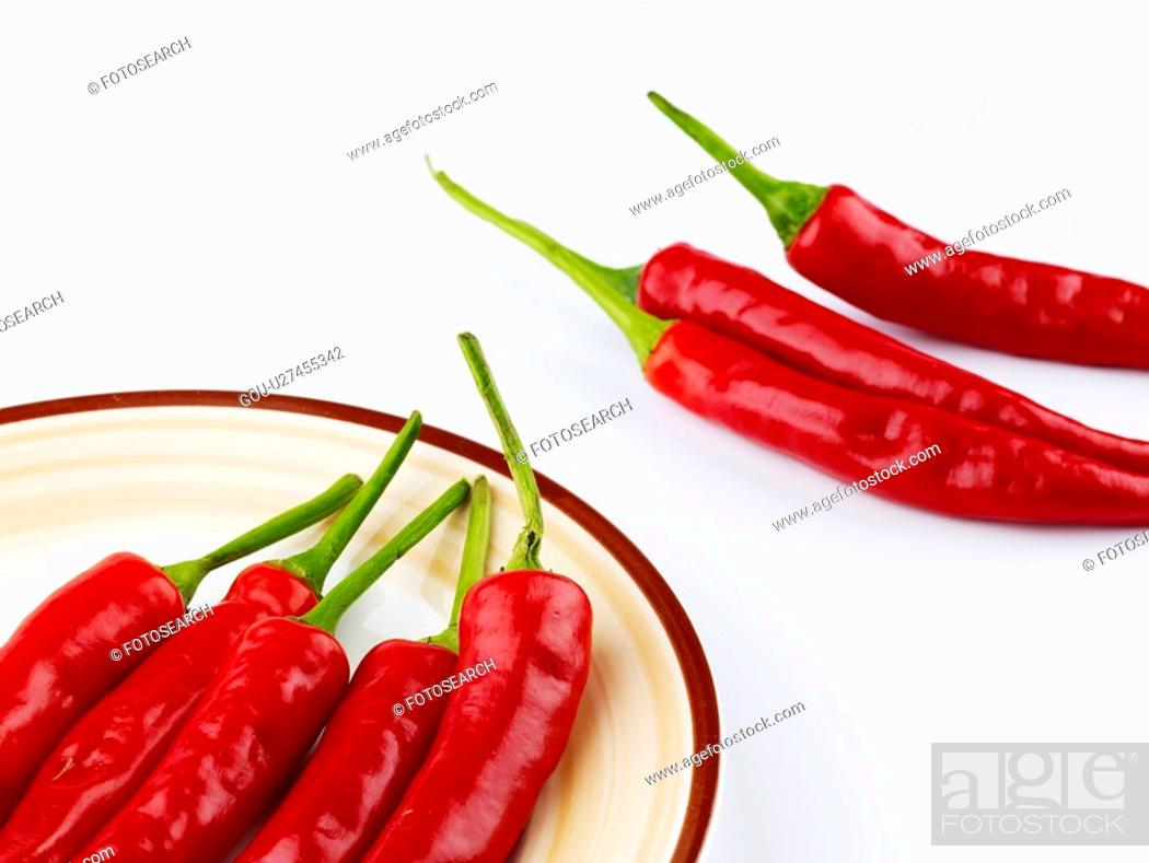 Stock Photo: cuisine, plate, food, hot pepper, red pepper, dish.