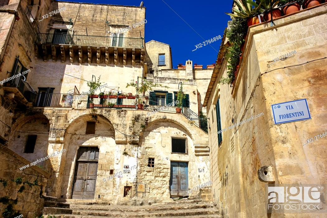 Stock Photo: Matera is a city and a province in the region of Basilicata, in Southern Italy. It is the capital of the province of Matera and the capital of Basilicata from.