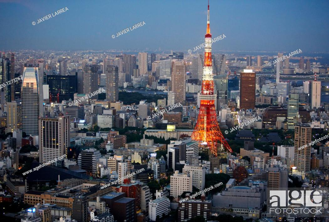 Stock Photo: Tokyo Tower, Tokyo City View, Roppongi Hills Mori Tower, Tokyo, Japan.