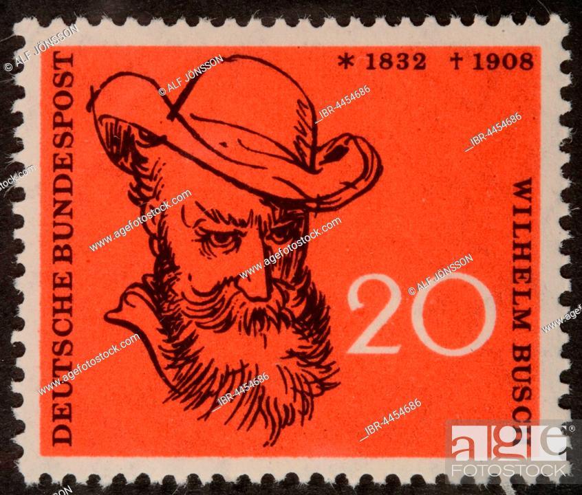 German Stamp FRG 1958 Portrait Of Wilhelm Busch Humorist