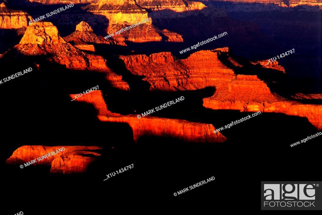 Stock Photo: Sunset from Hopi Point, Grand Canyon, Arizona, USA.