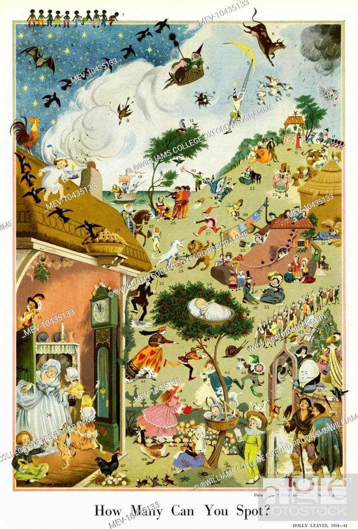 Stock Photo: Stunningly detailed illustration by Pauline Baynes featuring no less than 56 different nursery rhyme characters. Can you spot them all? If not.