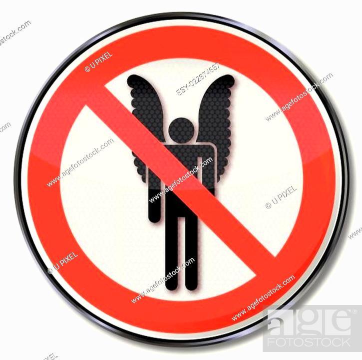 Stock Vector: Verbotsschild für Menschen mit Flügeln.