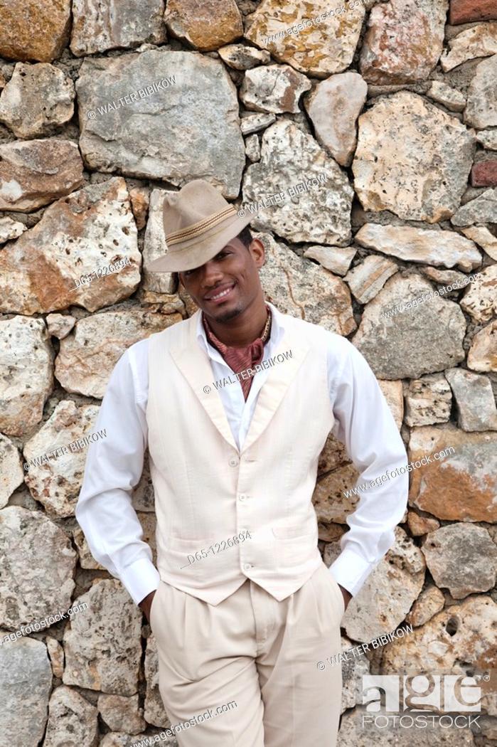 Stock Photo: Dominican Republic, La Romana, Altos de Chavon, Dominican male dancer in costume, R, MR-DRE-09-03.