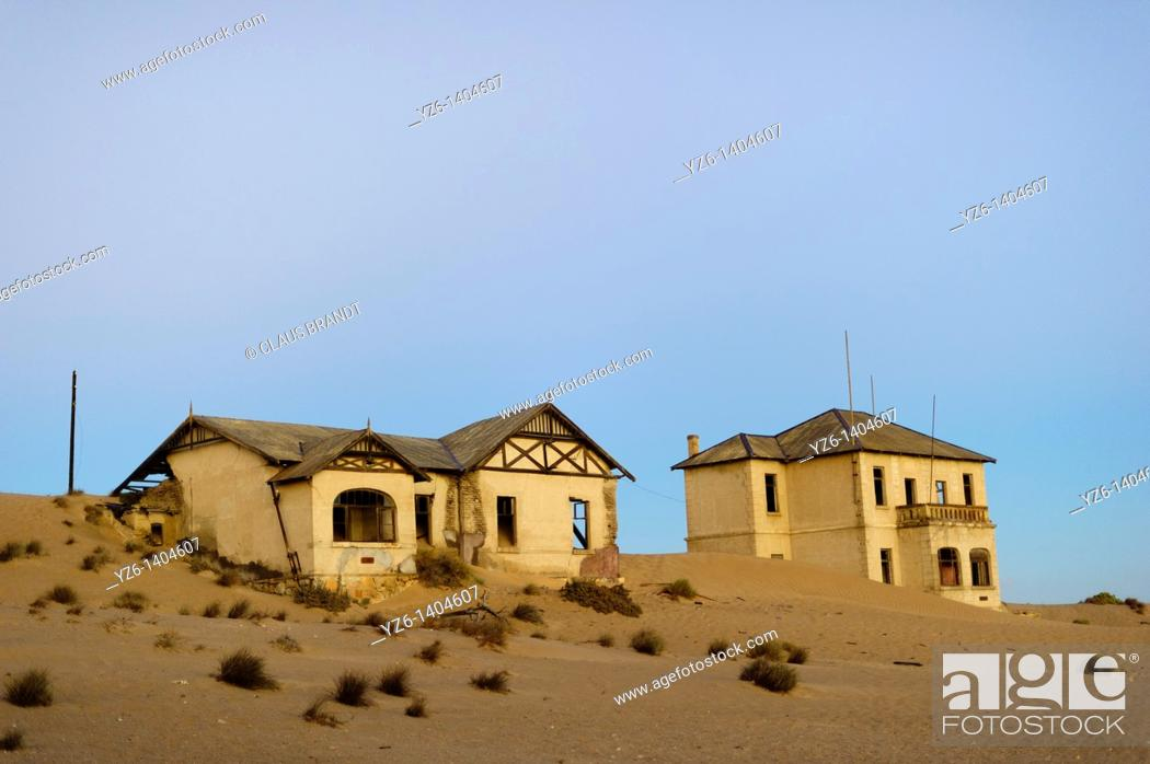 Stock Photo: Two buildings in ghost town Kolmanskop  Near Lüderitz, Namibia.