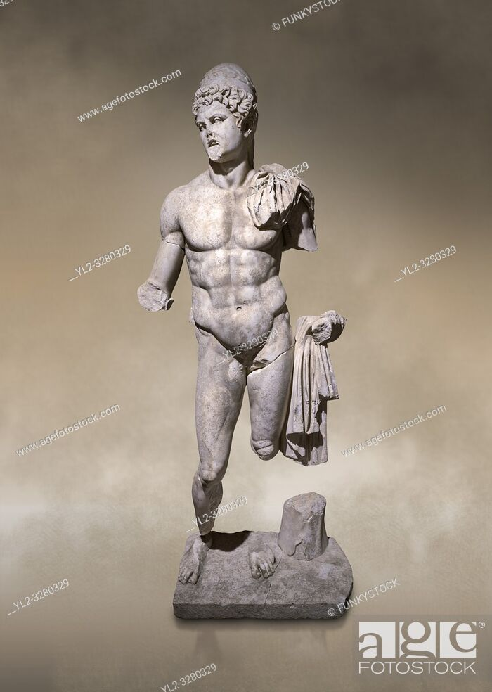 Stock Photo: Roman statue of Dioscuri. Marble. Perge. 2nd century AD. Inv no 2014/175. Antalya Archaeology Museum; Turkey. Against a warm art background. .