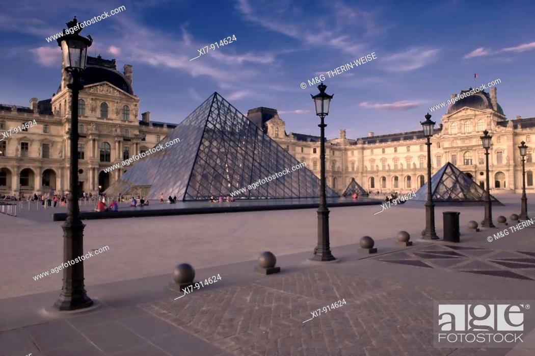Stock Photo: Louvre Pyramid, Paris, France.