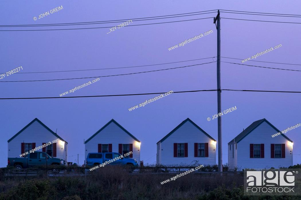 Stock Photo: Beach cottages, Truro, Cape Cod, Massachusetts, USA.