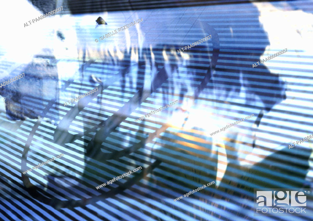 Stock Photo: Typographic symbol '@' overlaying abstract colors, blue and white perspective stripes, montage.